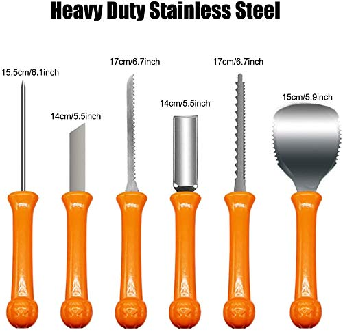 LSXD Pumpkin Carving Kit Halloween, 6Pcs Professional Stainless Steel Carving Knife with 4 LED Candles, Tool for Halloween Decorations, for Adults, Childrens