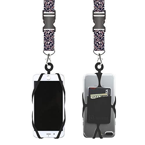 Lanyard Universal (Gear Beast Universal Cell Phone Lanyard Compatible with iPhone, Galaxy & Most Smartphones Includes Phone Case Holder with Card Pocket,Soft Neck Strap with Breakaway Clasp & Detachable Convenience Clip)