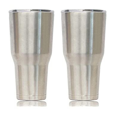 Eskimo Coolers Set of Two 30oz Stainless Steel Vacuum Insulated Tumblers with Lid