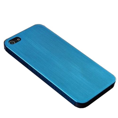 EnGive Ultra Slim Real Aluminum Drahtzieh Hart Metal Hülle Cover für Apple iPhone 5S/5(Blau)