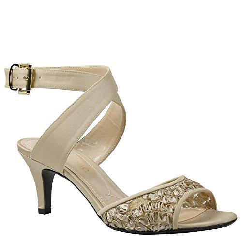 J. Renee Women's Soncino Criss Cross Ankle Strap Mid Heel Sandal,Champagne Ribbo