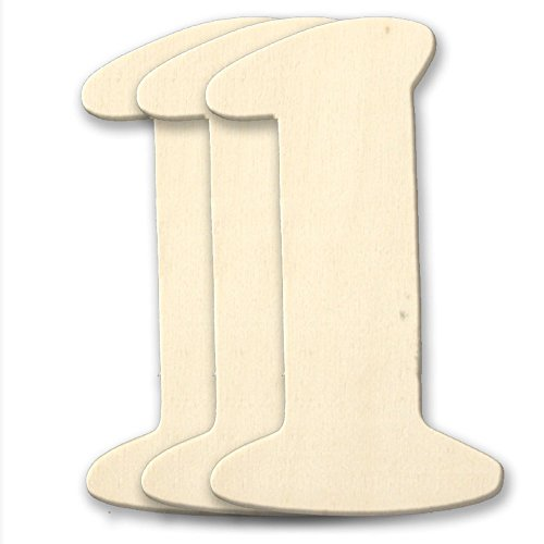 4 Wooden Number 4mm Thick About 3-1/4 Wide Number (1) Unfinished Plywood Number, 3-Pack