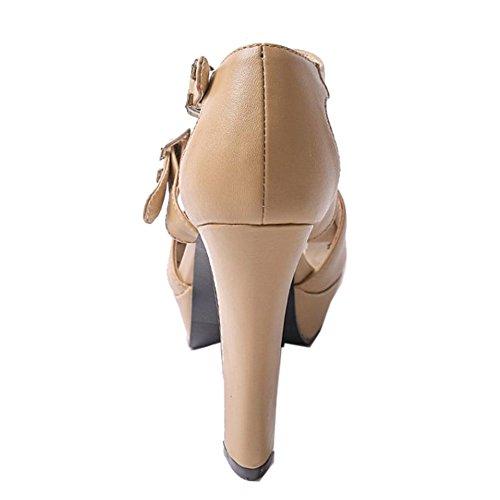Alto Sale Tacon COOLCEPT Peep Hot Hebilla Mujer Vestir Al Tobillo Clasico Albaricoque Sandalias Two Toe 1Zn7Bq