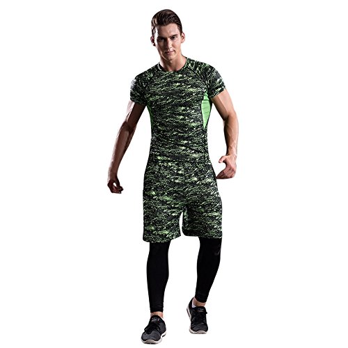 Corriee Mens Sport Suit Fitness 3 Pieces Men's Workout Leggings Athletic Pants Shirt Quick Dry Green (Relaxed Short Training)