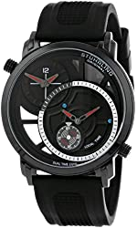 Stuhrling Original Men's 503.33561 Eclipse Horizon Swiss Quartz Dual Time Black Watch