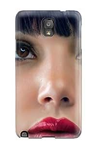 New Premium Flip Case Cover Cute Face Pretty Lips Bangs Brunettes Lipstick People Women Skin Case For Galaxy Note 3
