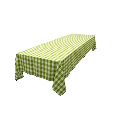 LA Linen Checkered Tablecloth, 60 by 120-Inch, Apple Green