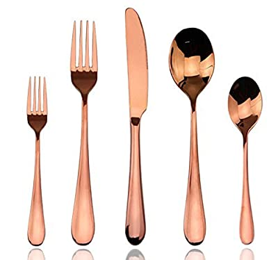 Aoosy 20-piece Gold Stainless Steel Flatware Set , Service for 4 (4, Gold Flatware)