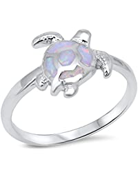 Lab Created White Opal Turtle .925 Sterling Silver Ring sizes 4-10