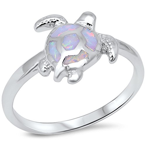 Lab Created White Opal Turtle .925 Sterling Silver Ring size 7 Turtle Ring