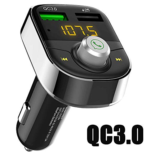 Bluetooth FM Transmitter for Car, Wireless Radio Transmitter Adapter with Hands Free Calls for iPhone, Quick Charge 3.0 USB Car Charger for Samsung, Good Gift (Gray)
