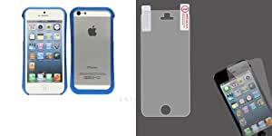 Combo pack Cellet Blue Metal Bumper Proguard Case For Apple iPhone 5 And MYBAT LCD Screen Protector for APPLE iPhone 5