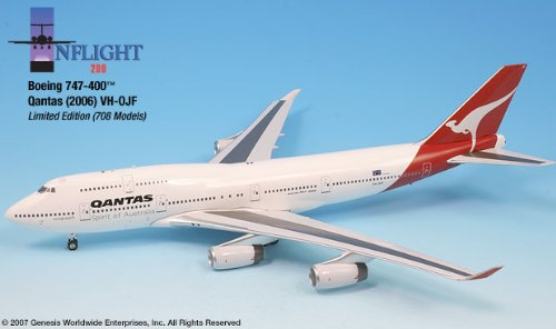 (Inflight200 Qantas Airways REG#VH-OJF Boeing 747-400 1:200 1:200 Scale Diecast Display Model)
