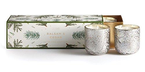 Cedar Glass Candle - Illume, Candle Mini Luxe Balsam Cedar 3 Count