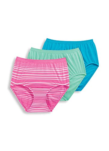 Jockey Women's Underwear Comfies Microfiber Brief - 3 Pack, Caribbean Waters/Moonlight Jade/Happy Pink Milano, 6