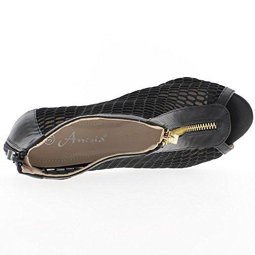 Zapatos negro mujeres con bridas enmarañado talón abierto 11cm