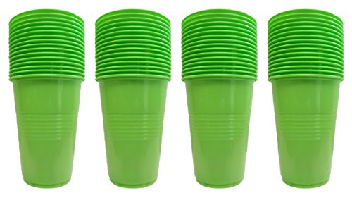 Set of 64 Green Disposable Plastic Party Cups! 4 Hot Colors - 16oz Cups - Perfect For Parties, BBQ's, or Regular Use! (Green) ()