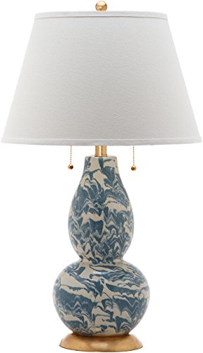 Safavieh Lighting Collection Light Blue and White Color Swirls Glass 28-inch Table -