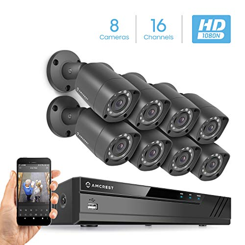 16CH Video Security System w/ 8 x 1MP IP67 Outdoor Bullet Cameras, 65ft Night Vision, HDD Not Included, Supports AHD, CVI, TVI, Analog, Amcrest IP Cameras (AMDVTENL16-8B-B) ()