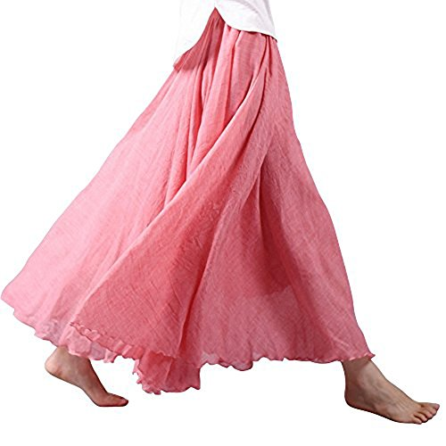 Asher Women's Bohemian Style Elastic Waist Band Cotton Linen Long Maxi Skirt Dress (95CM, Light Red)