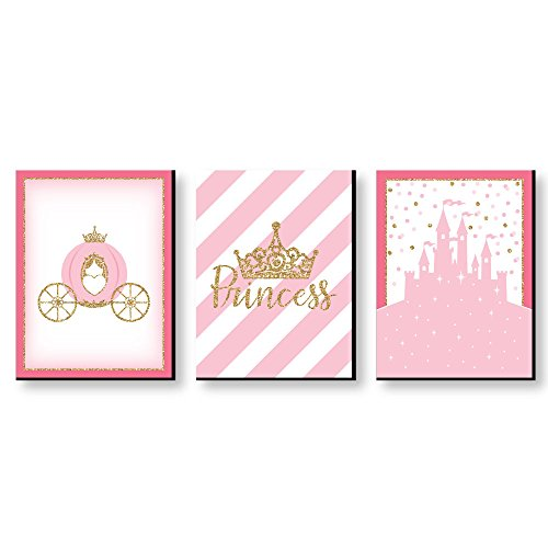 "Little Princess Crown - Castle Nursery Wall Art & Kids Room Decor - 7.5"" x 10"" - Set of 3 Prints"