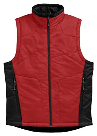 Tri-mountain Men windproof/water resistant nylon vest with microfiber quilted lining. - RED/BLACK - Medium