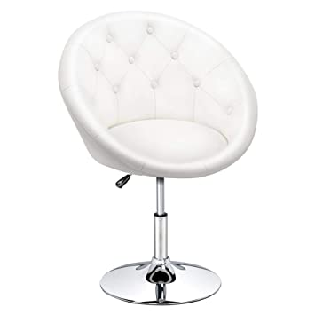 Marvelous Yaheetech Adjustable Modern Round Tufted Back Chair Tilt Swivel Chair Vanity Chair Barstool Lounge Pub Bar White Inzonedesignstudio Interior Chair Design Inzonedesignstudiocom