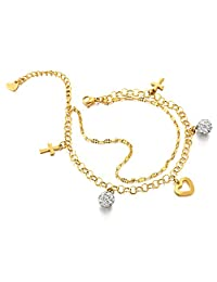Stainless Steel Gold Color Anklet Bracelet with Dangling Charms of Cross, Cubic Zirconia and Heart