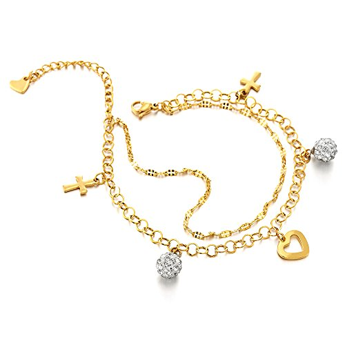 COOLSTEELANDBEYOND Stainless Steel Gold Color Anklet Bracelet with Dangling Charms of Cross, Cubic Zirconia and Heart by COOLSTEELANDBEYOND