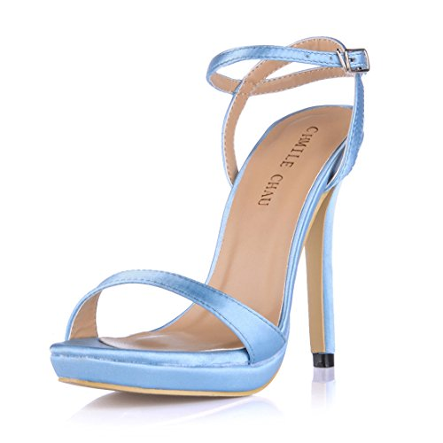 1cm Caviglia Partito Scarpe a Piattaforma satin CHMILE Cinturino Sandali Nuziale CHAU Moda Donna Alto alla Spillo Tacco Eleganti Sposa da Blu UwfOa