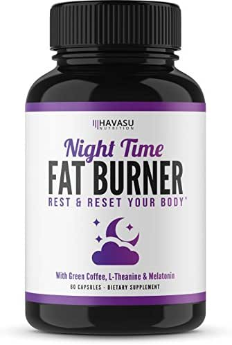 Havasu Nutrition Night Time Weight Loss Pills with Vitamin D, Green Coffee Bean Extract, White Kidney Bean Extract, L-Theanine, L-Tryptophan, Melatonin- Non Habit Forming PM Fat Burner, 60 Capsules