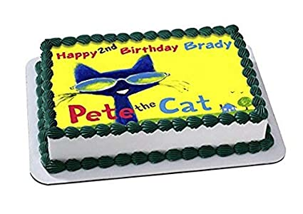 Amazon Pete The Cat Edible Cake Topper Personalized Birthday 1 2 Size Sheet Decoration Party Sugar Frosting Transfer Fondant Image