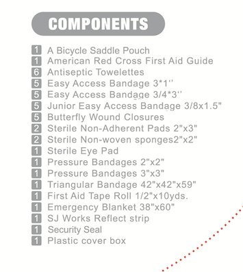 SJ WORKS Saddle Pouch Bicycle First Aid Kit, fit for Most Bicycle Saddles,Road Bike & Mountain Bike Cycling First aid kit with an Emergency Bike Light(No Battery) by SJ WORKS (Image #8)