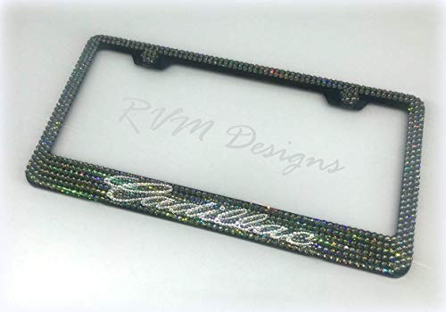 Bling Black Metal License Plate Frame made with Black Diamond Swarovski Crystals- Car Jewelry -  RVMdesigns
