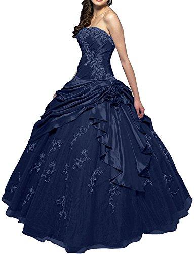 Gorgeous Klassisch Traegerlos Ballkleid Ballon A Linie Lang Taft Navy Abendkleid Bride Tuell wwrq54U