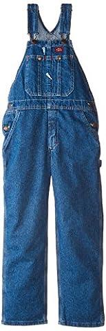 Dickies Big Boys' Denim Bib Overall, Stone Washed Indigo Blue, Medium (10/12) - Fly Bib Overalls