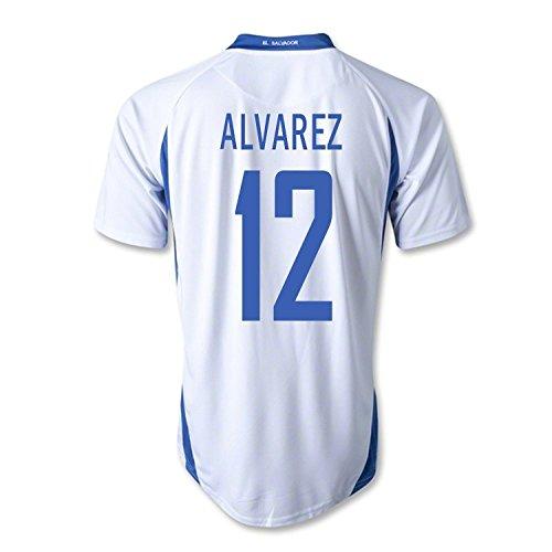 留まるすることになっている寸法Mitre Alvarez #12 El Salvador Away Soccer Jersey/サッカーユニフォーム エルサバドル アウェイ用 アルバレス 背番号12