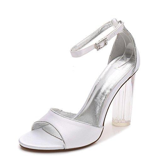 L@YC F2615-8 Womens Wedding Shoes Party Silk Crystal High Heels Pumps Size White qLLzlQ