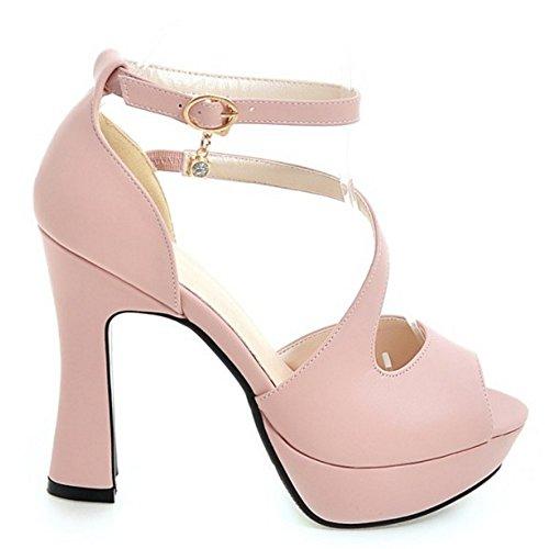 Tobillo Moda Tacon Coolcept Toe Plataforma Sandalias Zapatos Al Ancho Peep Rosado Mujer q85T5t