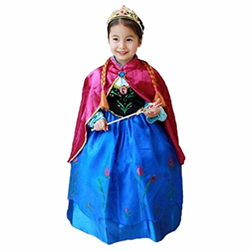 DreamHigh Halloween Princess Anna Costume Girl's Dress with Cape Size 7-8 Years]()