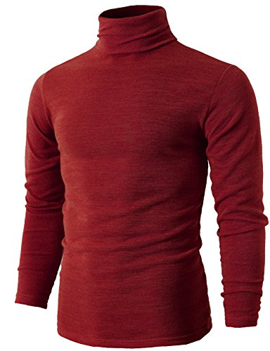 H2H Mens Basic Knitted Turtleneck Pullover Sweater RED US M/Asia XL (KMTTL028) by H2H