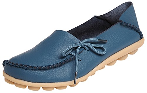 Trendy Width Wide Shoes - Serene Womens Blue Leather Cowhide Casual Lace Up Flat Driving Shoes Boat Slip-On Loafers - Size 9.5