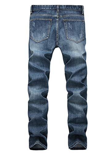 Della Blue Dritto Vestibilità Maschi Metà Vita Versaces Jeans Pantaloni Slim Lavaggio Fori Wwx7qXHn6p