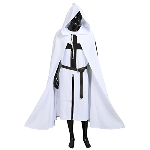Blessume White Medieval Crusader Knight Tunic Cape Belt Cosplay Costume (Middle Ages Costumes)