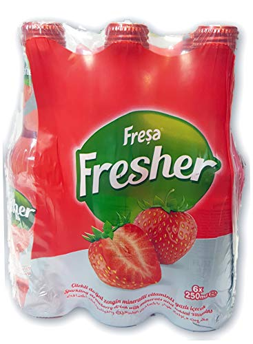 Fresa Fresher Imported Enriched Sparkling Natural Spring Water Strawberry 6pk 250ml- Glass Bottles