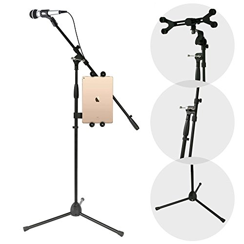 Multimedia iPad and Microphone Stand - Universal Mic Holder Adjustable Extender Bar and Multi-Mount Boom Clip w/ Universal Tablet or iPad Griper Starter Kit - Sturdy and Durable - Pyle PMKSPAD1
