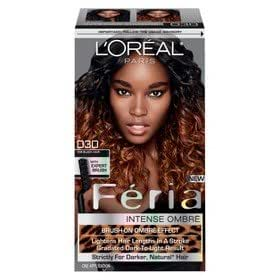 L'Oreal Paris Feria Brush-on Intense Ombre Effect Hair Color - O30 For Dark Brown to Soft Black Hair (Pack of 3)
