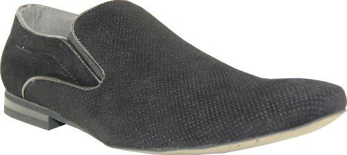 Bravo Mens Dress Shoes Berto-6 In Finta Pelle Scamosciata? Mocassino Moda Con Una Punta Tonda Punta Nera 8,5m