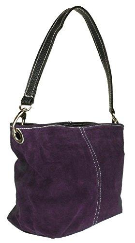 Girly Handbag Suede Leather Bag Shoulder New Genuine Tote HandBags Purple rqnWxXwpHr