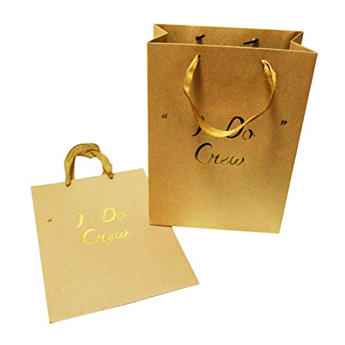 FOONEA I Do Crew Kraft Paper Bags Gift Bags Party Favor Bags Set of 10 with Handles for Hotel Guests Wedding Favors Bridesmaid Graduation Gift Birthday Party Bridal Baby Boy Girl Shower ()